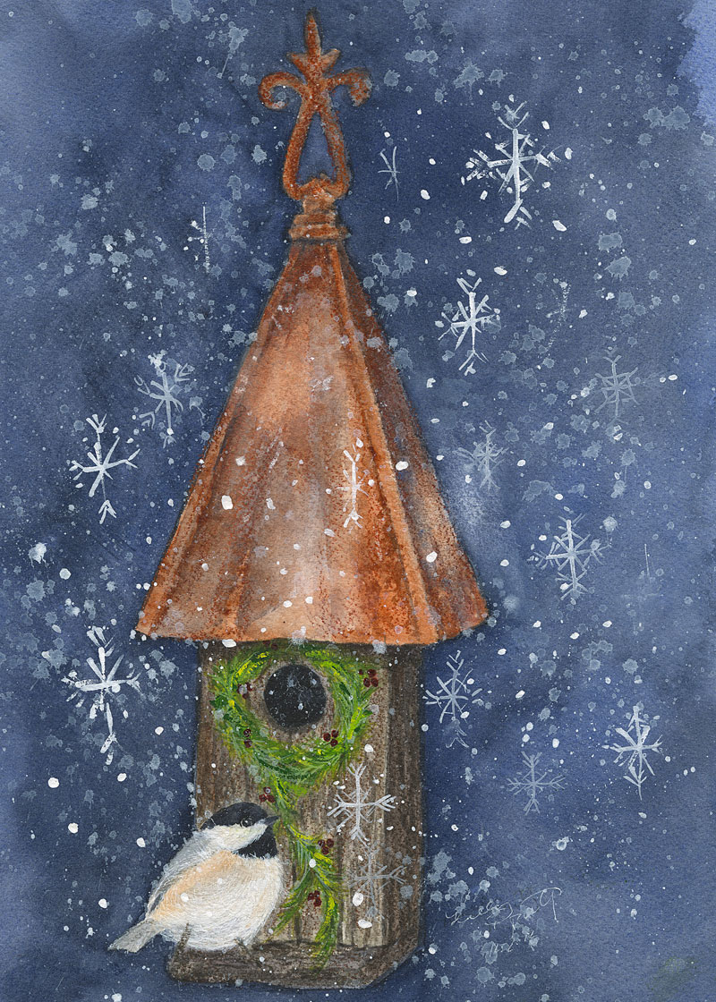 A Christmas Chickadee is stringing boughs of pine and sprigs of holly on his house to make the season bright! Original watercolor by Kelly Riccetti.
