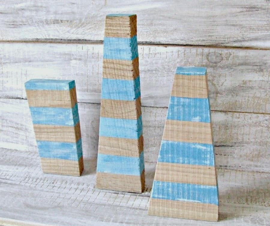 Drewniany design handmade - co można zrobić z kawałków drewna. Eco dekoracje upcycling.Błękitne piramidy.