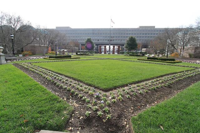 The garden behind the Smithsonian Castle building in Washington DC, USA