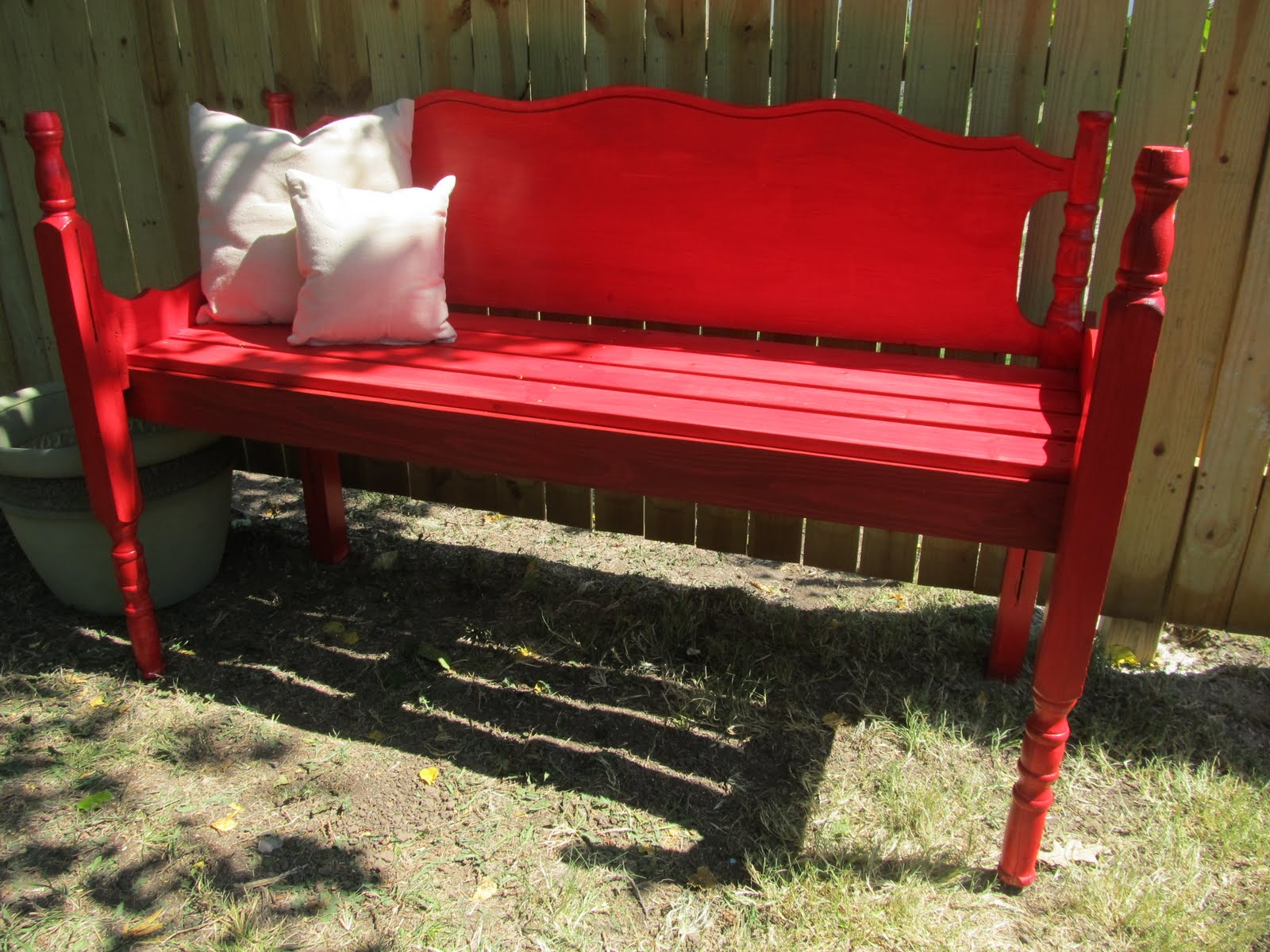 headboard garden bench Happy As A Lark: Headboard Garden Bench