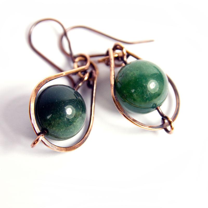 moss agate earrings in a copper horseshoe loop sycamoon