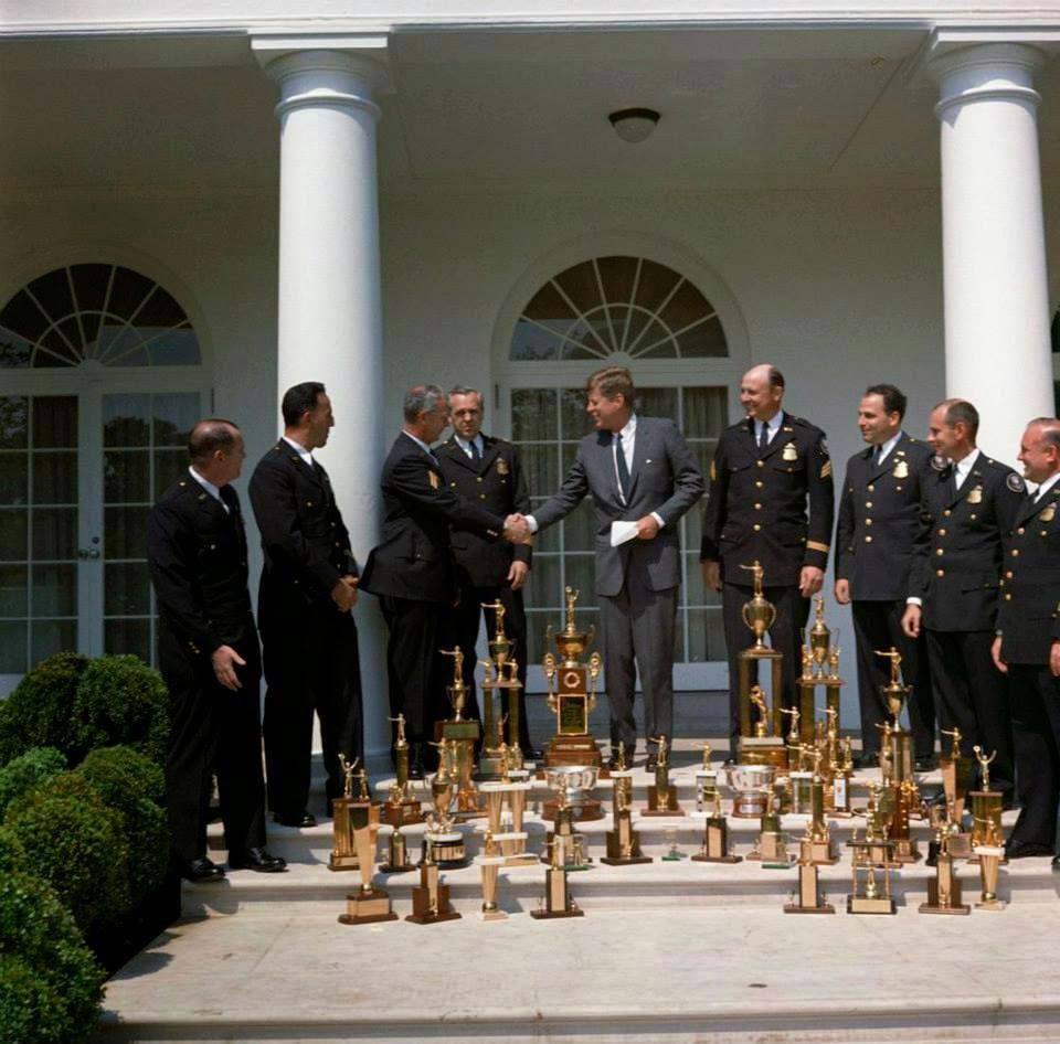 President John F. Kennedy with White House Police Pistol Team 5/14/62