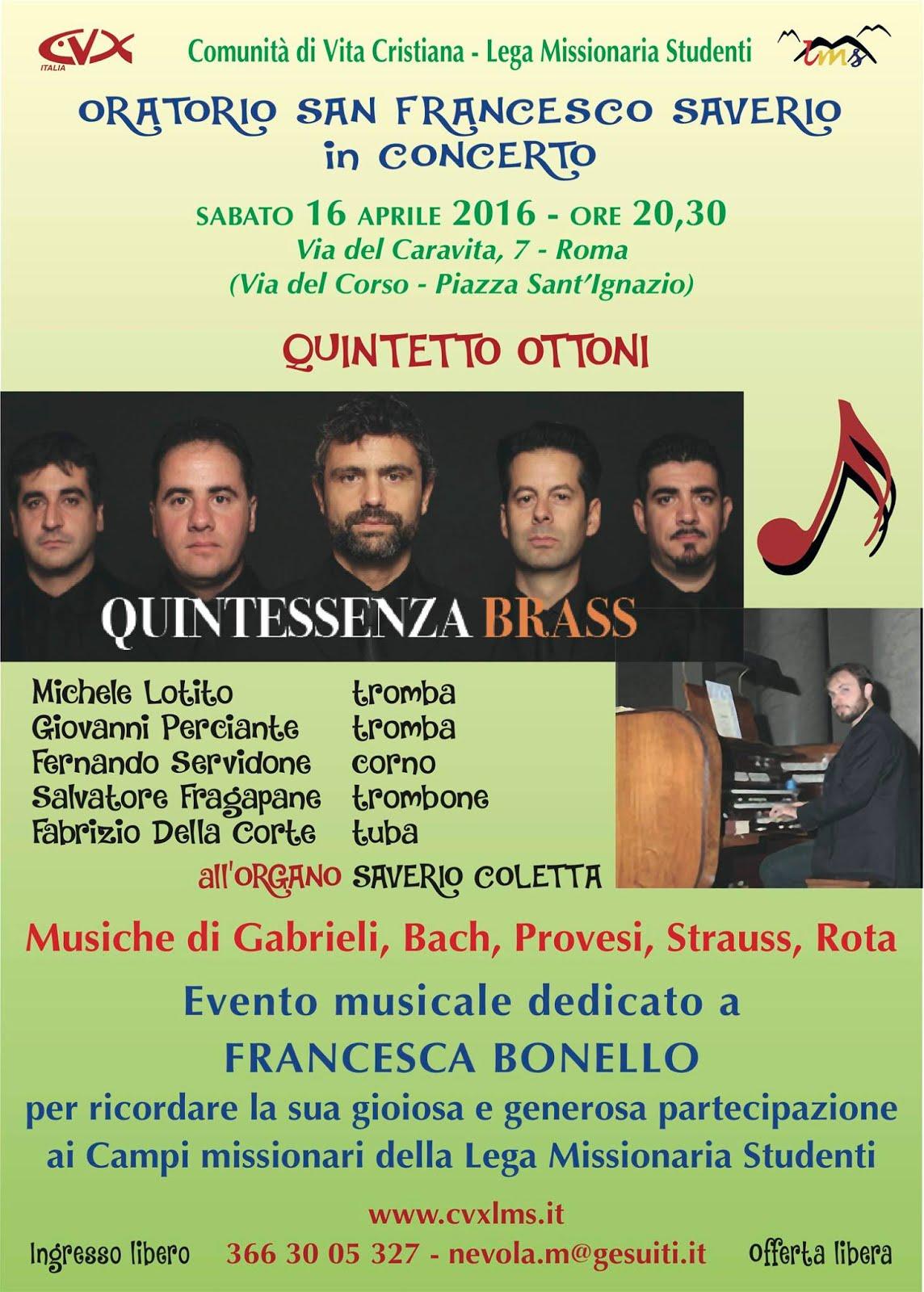 16 aprile - Concerto per la Vita - via del Caravita 7 (P.zza S. Ignazio), ore 20,30