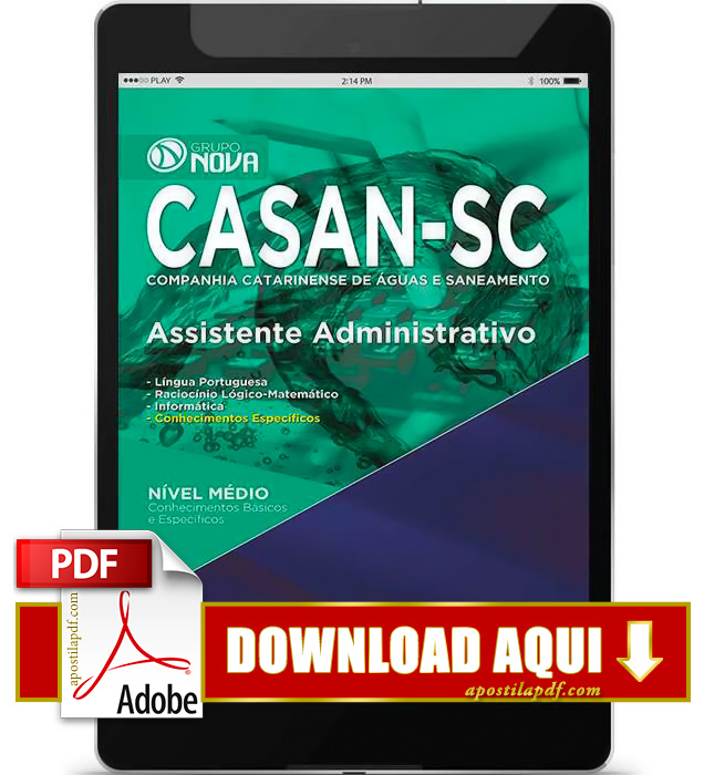 Apostila CASAN SC 2015 PDF Download Assistente Administrativo