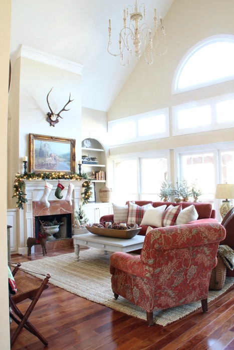 Week And Now Im Sharing The Other Ways I Added Christmas In Great Room Family Just A Change Of Pillows Some Natural Faux Elements Is