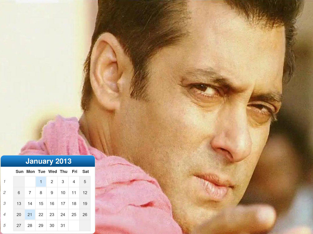 Download Bollywood Actor Salman Khan New Year Calendar 2013 for