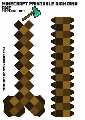 Minecraft diamond axe printable papercraft template 4 of 4
