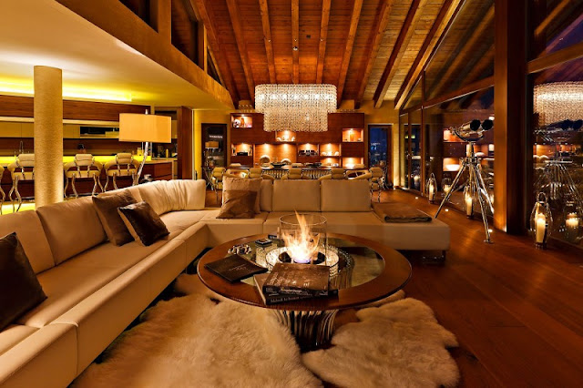 Picture of modern living room at night