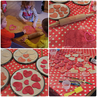 Salt dough hearts for Valentine's