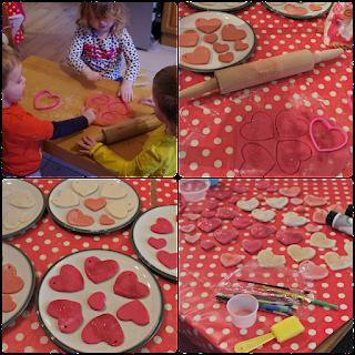 Salt dough hearts for Valentine's