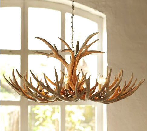 Marvelous Pottery Barn Faux Antler Chandelier
