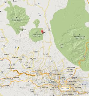 Mapa de situación del Volcán Poas