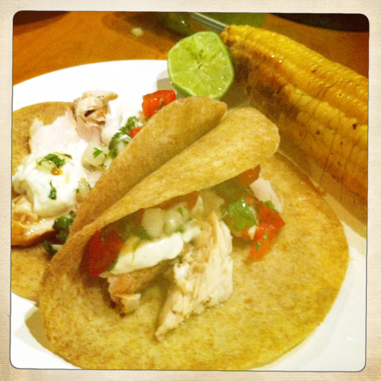 The meat and potatoes foodie grilled fish tacos with for Crema for fish tacos