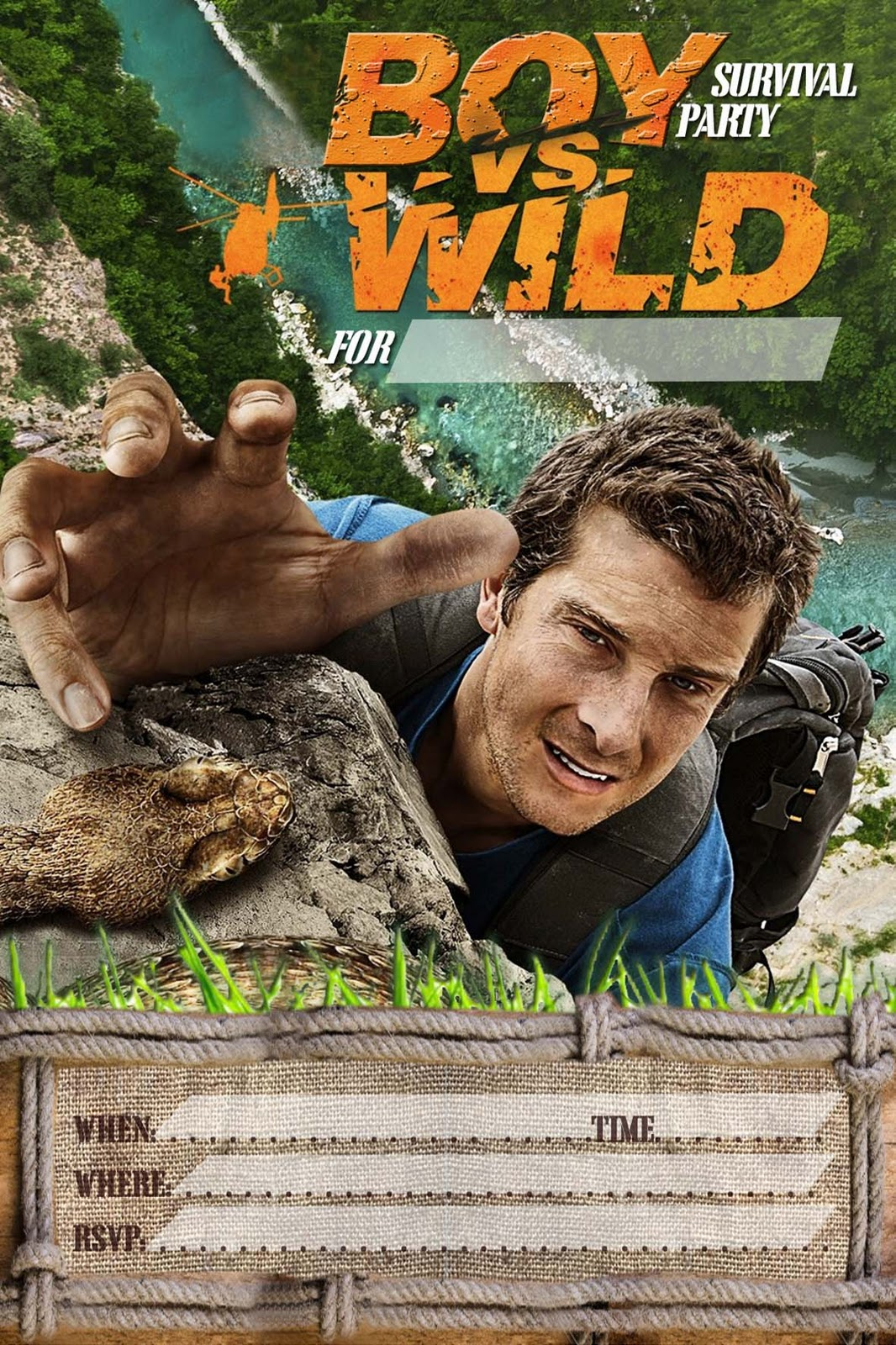 free kids party invitations  boy vs wild  bear grylls