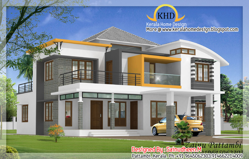 8 beautiful house elevation designs kerala home design for Kerala style home designs and elevations