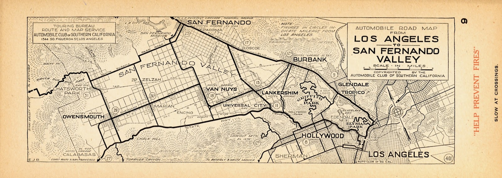 The Museum of the San Fernando Valley RARE OLD AUTO CLUB MAP ...