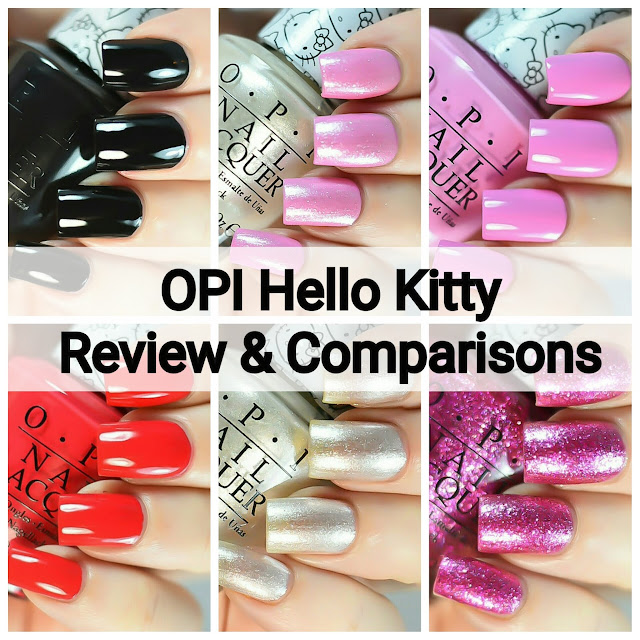 OPI Hello Kitty swatch and comparison