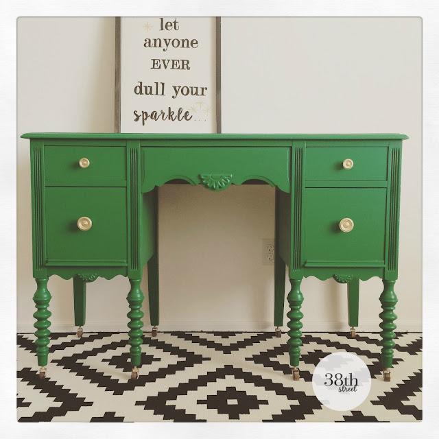 furniture flip, desk makeover, painted desk, refinished desk, emerald green, general finishes