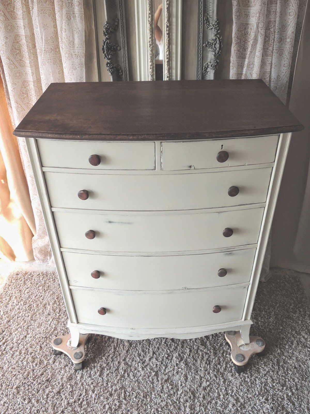 Stained and chalk painted dresser