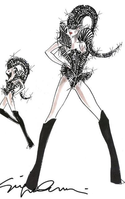 Newsflash: Giorgio Armani's Sketches For Lady Gaga's Concert Costumes