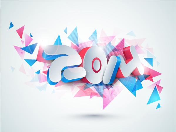 Logos del año 2014 3D - Vector