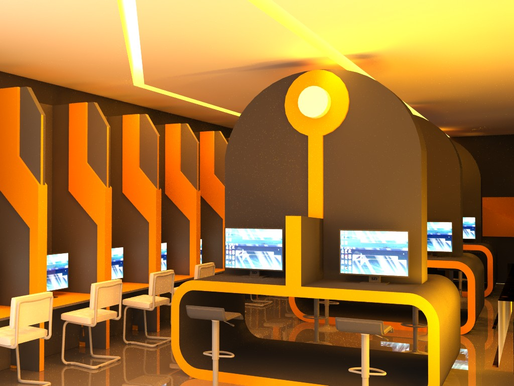 Qswitch tron styling cyber cafe with orange lighting by for Internet cafe interior designs