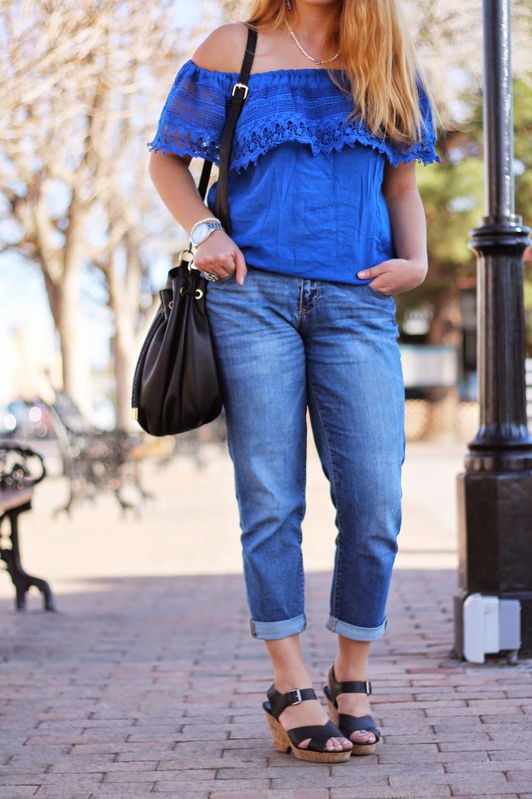 fashamorphosis outfit cold shoulder top boyfriend jeans. Black Bedroom Furniture Sets. Home Design Ideas