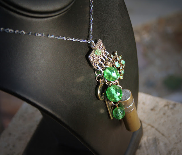 Green crystal upcycled necklace