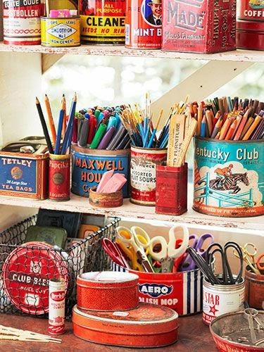 vintage storage in studio, vintage tins