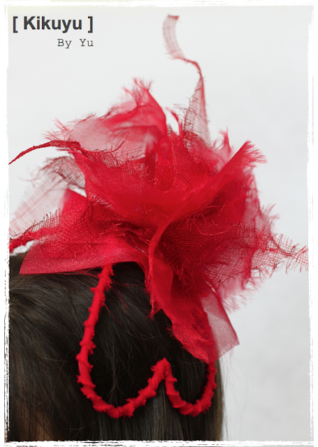 Red sinamay and organza hat