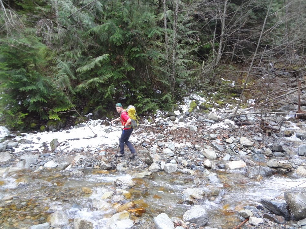 Crossing Magnesia Creek on the trail towards Brunswick Mountain
