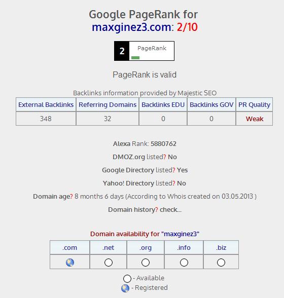 google page ranking by maxginez.com