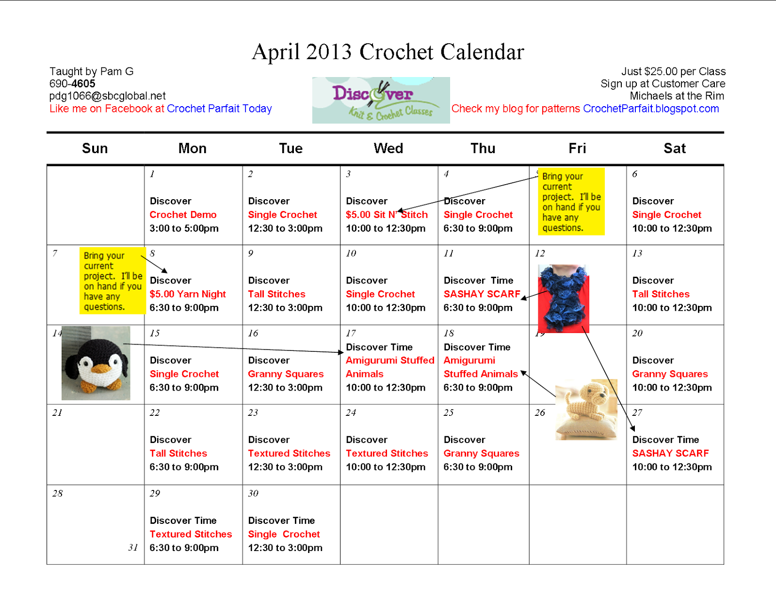 Crocheting Classes At Michaels : Crochet Parfait: April 2013 Crochet Class Calendar