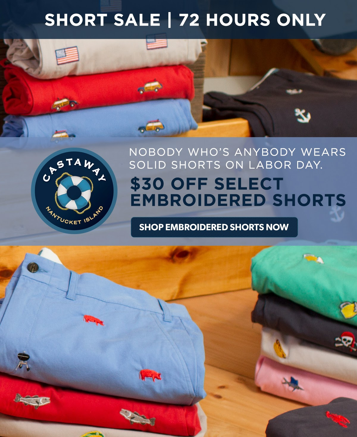 Castaway Clothing Critter/Embroidered Shorts FLASH SALE!