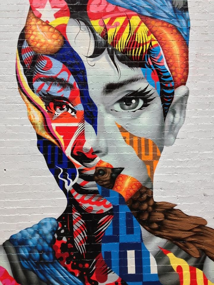 Brooklyn artist paints audrey hepburn in little italy for Artistic mural works