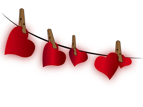 Clothesline hearts emoticon