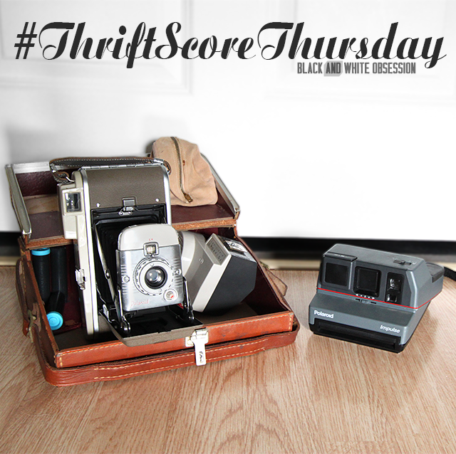 #thriftscorethursday Week 27 Two Vintage Polaroid Cameras | www.blackandwhiteobsession.com