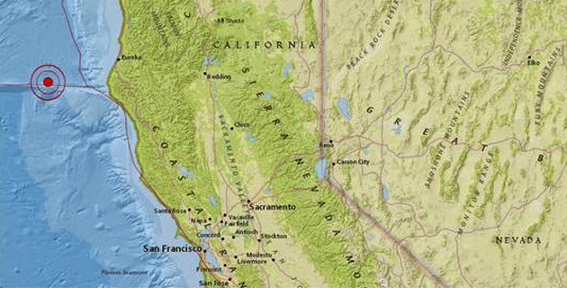 Epicentro sismo 5,3 grados en costa norte de California, 1 de Enero 2015
