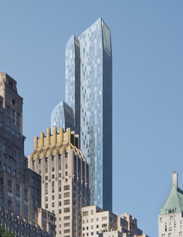 Rendering close up of the facade of One 57 by Christian de Portzamparc
