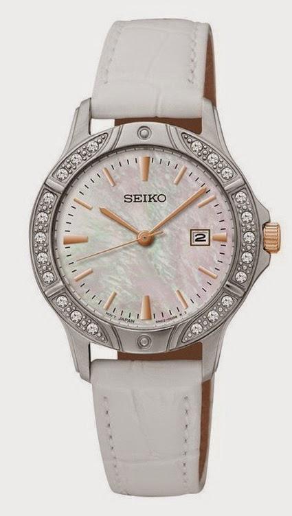Jam Tangan Wanita Seiko SUR871 Putih Mutiara Leather