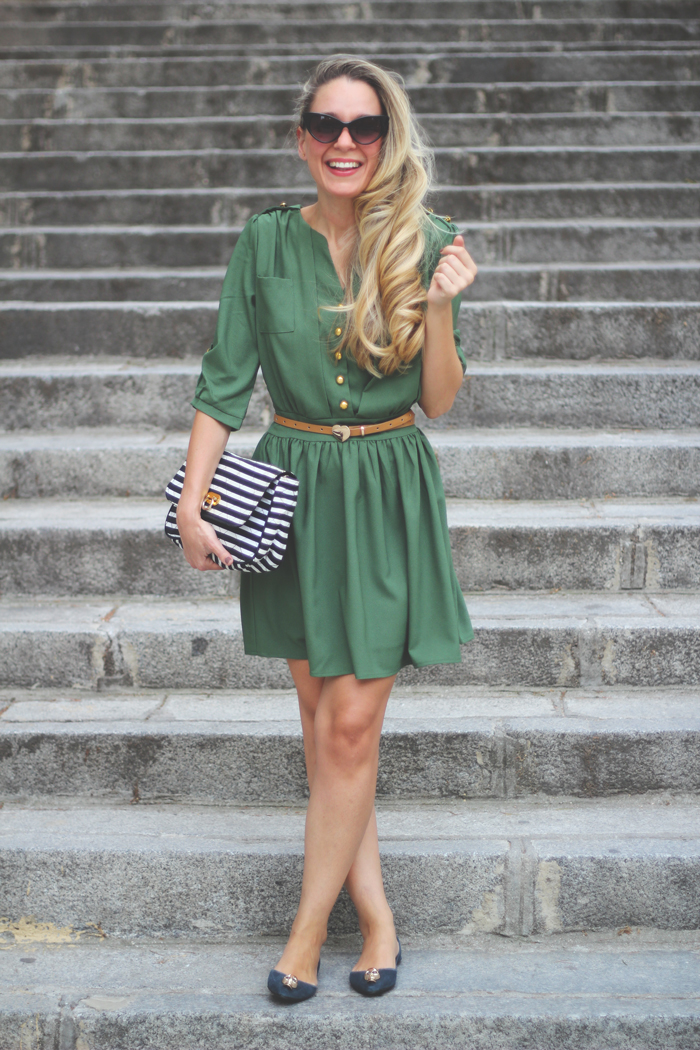 Pepa Loves, Giveaway, My Showroom, military trend, street style, sailor, green dress, skull,