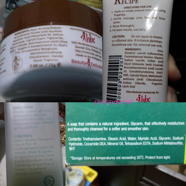 Ingredients of Body Recipe Milk + Protective Day Cream, Facial Wash, Diana Stalder Toner and Glycerin Soap: