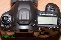 Canon EOS 5D mark III DSLR with Nikon BS-2 hot-shoe protection cap, top view