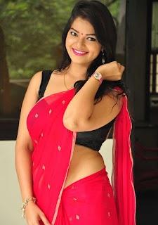 Ashwini in Lovely Red Saree and Black Sleeveless Choli Spicy Pics