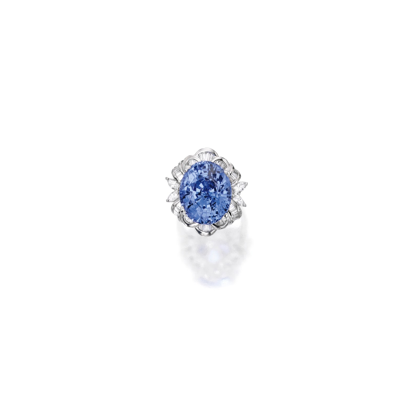 pin blue large and ring diamond estate karat sapphire