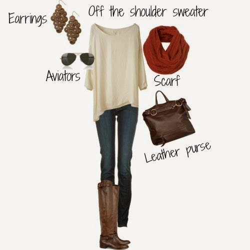Jeans, Brown Leather Handbag, Earrings, Nice Shoulder Sweater, Amazing Glasses, Suitable Leather Boots