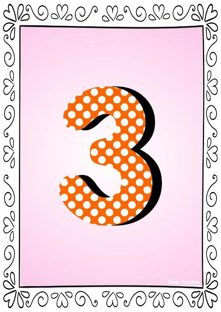 Numerais de Poá colorido com bordas 3