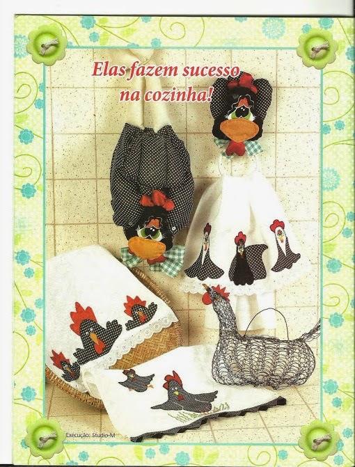 Moldes pano de prato com patch aplique de galinhas