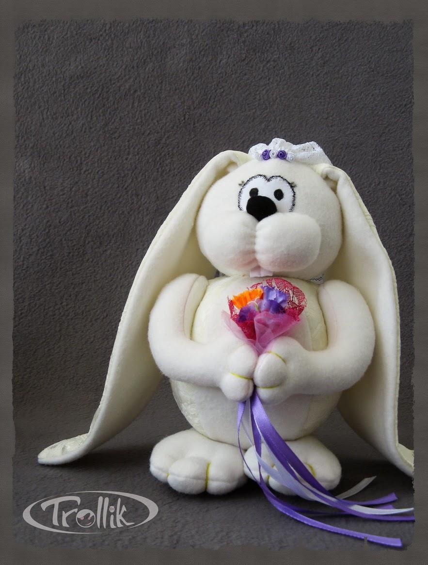 авторские мягкие игрушки свадебные зайцы из флиса своими руками
