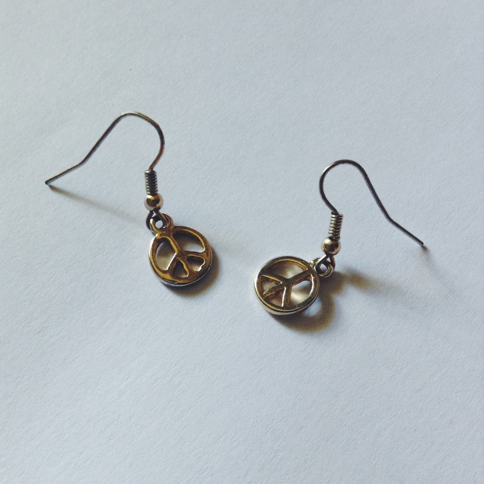 golden peace and love earrings